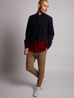 HYMN London 'ASPEN' Cord Colour Block Navy Orange Shirt