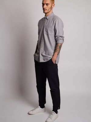 HYMN London 'PIRANHA' Brushed Twill Grey Shirt