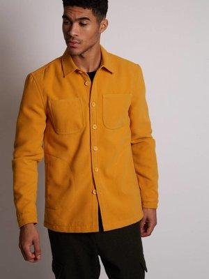 HYMN London 'WATTLE' Mustard Fleece Overshirt - Small