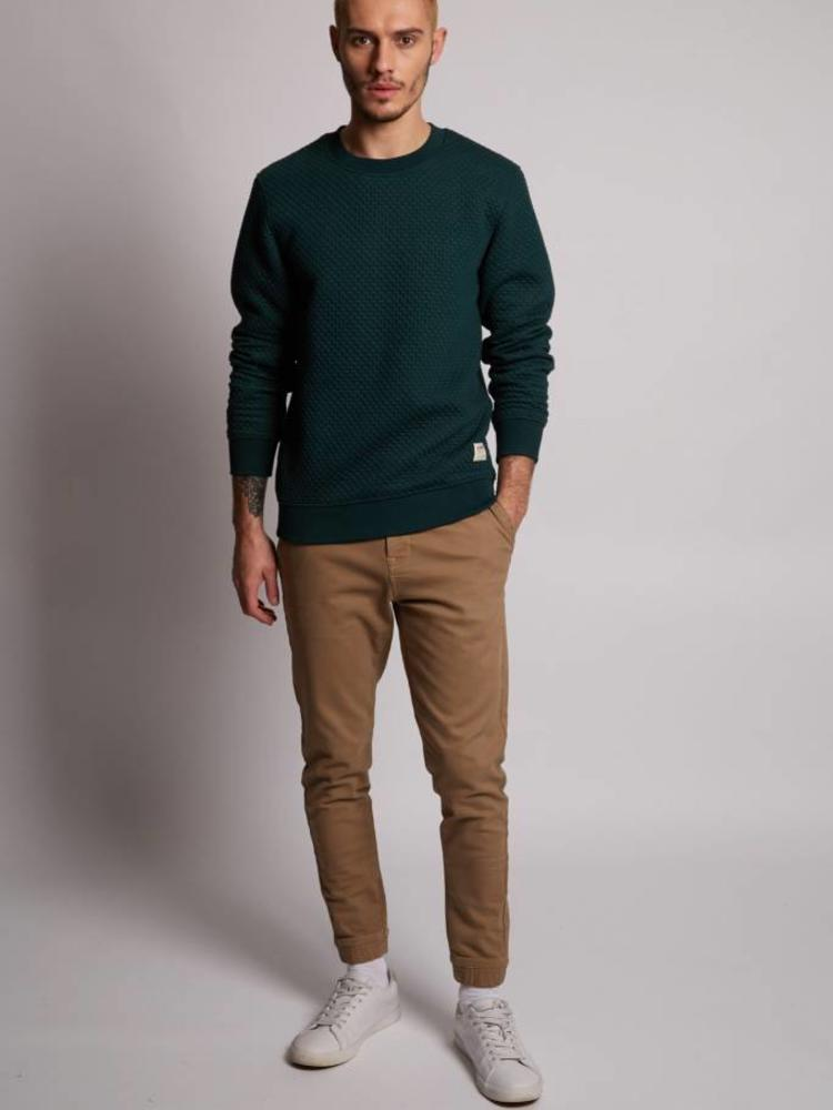 HYMN London HYMN 'MASTERS' Textured Quilted Forest Green Sweatshirt