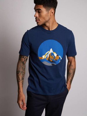 HYMN London 'NEVIS' Mountain Print Navy T-Shirt