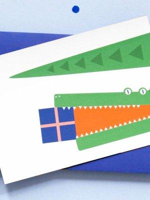 Ola jr Crocodile Present Greeting Card