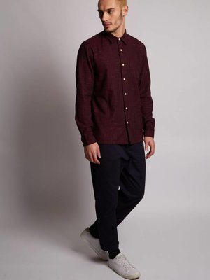 HYMN London 'SHARK' Red Brushed Crosshatch Shirt