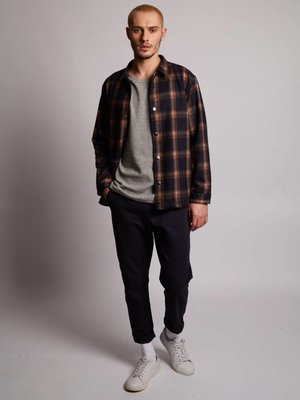HYMN London 'HUNT-2' -  Navy Check Wool Coach Jacket