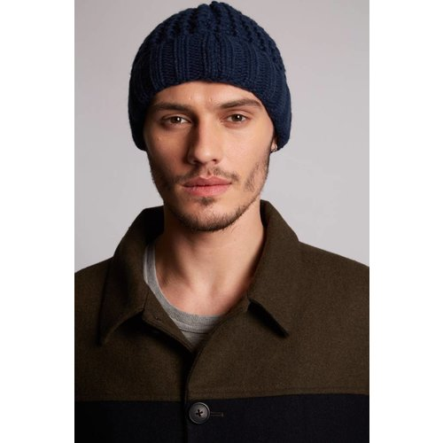 HYMN London 'CABLE' Navy Waffle Hat