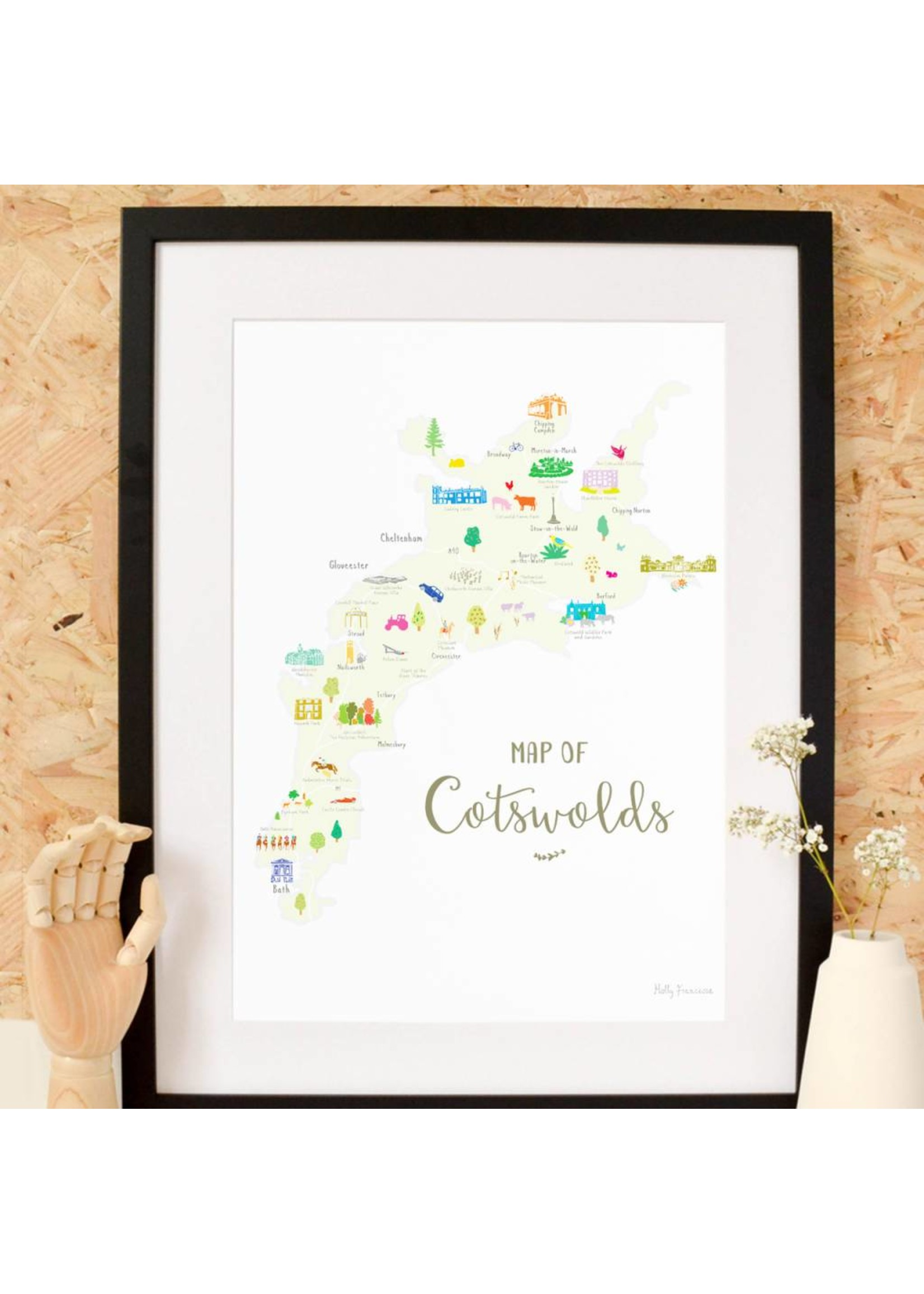 Holly Francesca Holly Francesca Map of the Cotswolds A3
