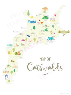 Holly Francesca Map of the Cotswolds A3
