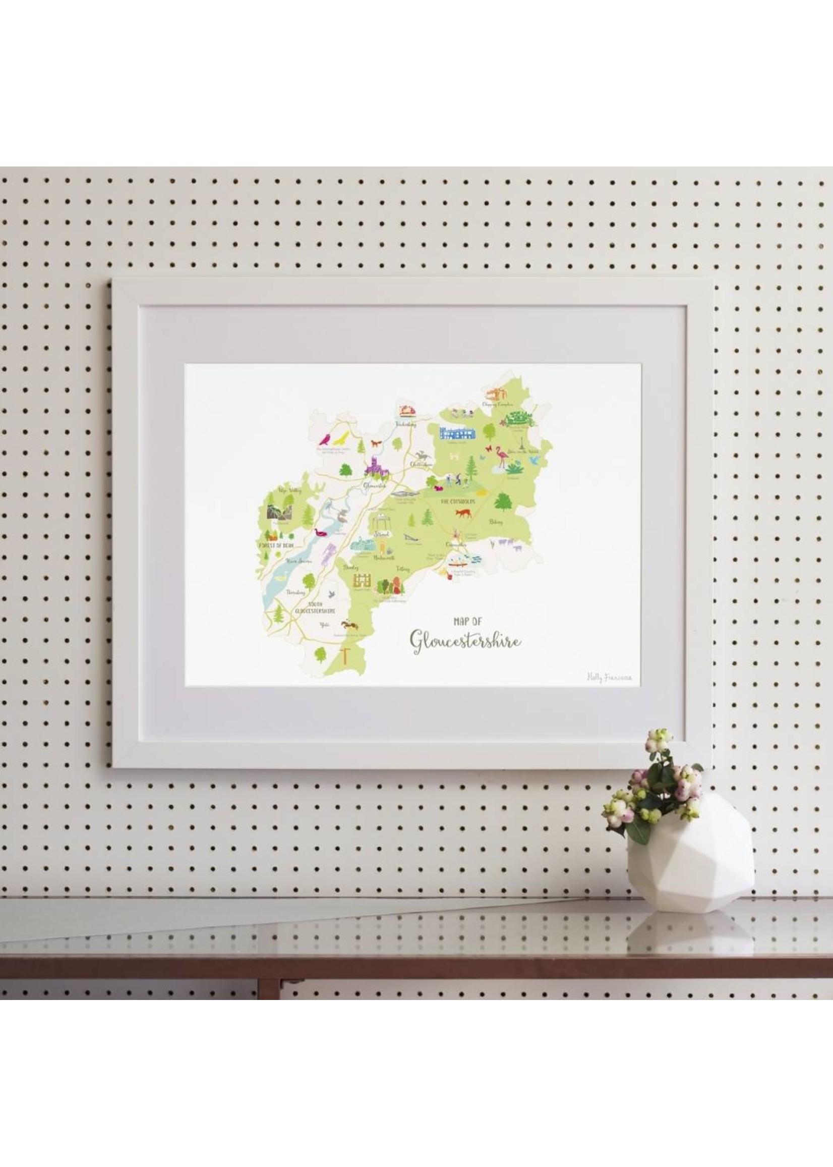 Holly Francesca Holly Francesca Map of Gloucestershire A4