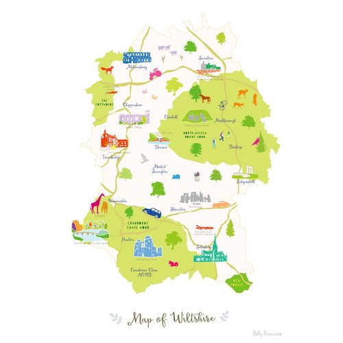 Holly Francesca Map of Wiltshire A4