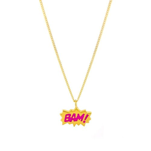 Laura Gravestock Dainty BAM! Pink Enamel Gold Plate Necklace