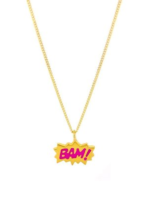 Laura Gravestock Laura Gravestock  Dainty BAM! Pink Enamel GoldPlateNecklace