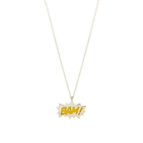 Laura Gravestock Dainty BAM! Yellow Enamel Silver Necklace