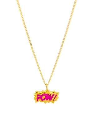 Laura Gravestock Laura Gravestock Dainty POW! Pink Enamel Gold Plate Necklace