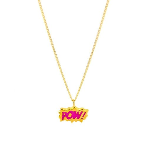 Laura Gravestock Dainty POW! Pink Enamel Gold Plate Necklace