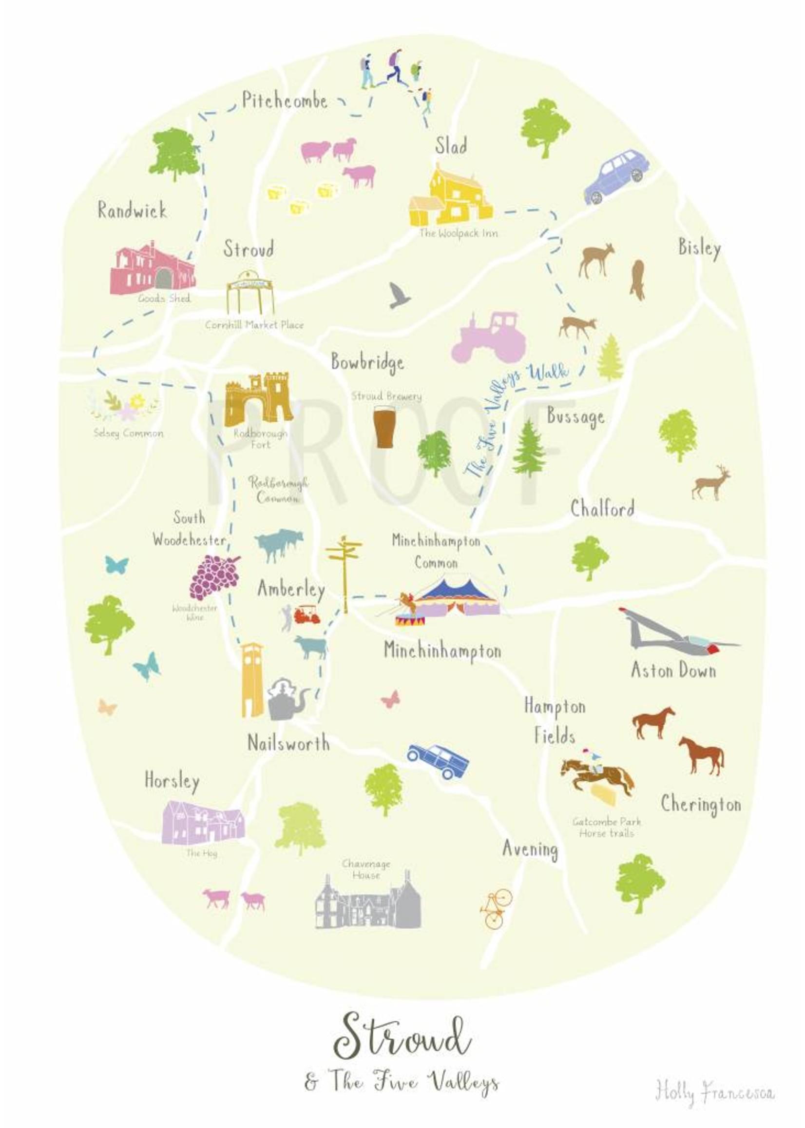 Holly Francesca Holly Francesca Map of Stroud & the 5 Valleys - A3