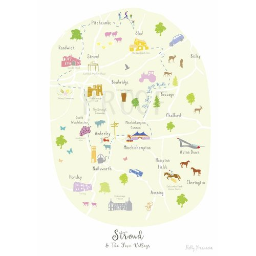 Holly Francesca Map of Stroud & the 5 Valleys - A3