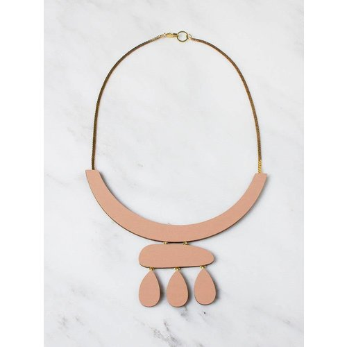 Wolf & Moon Cloud Necklace - Blush