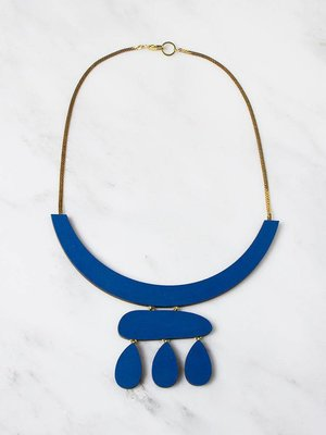 Wolf & Moon Cloud Necklace - Cobolt Blue