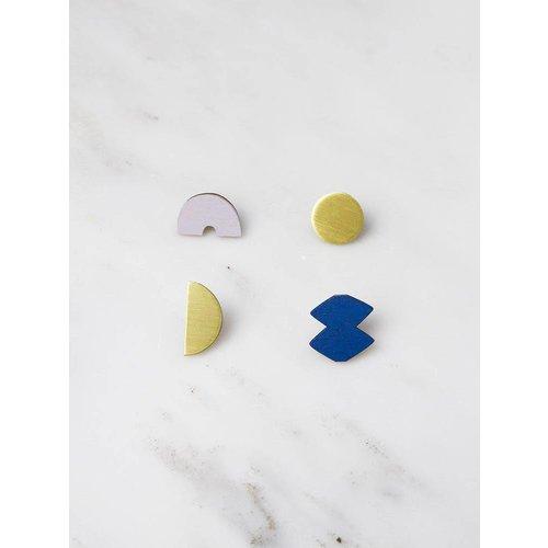 Wolf & Moon Sculpture Studs
