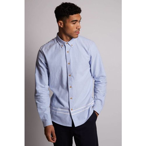HYMN London 'CEDAR' Brushed Cotton Blue Oxford Shirt