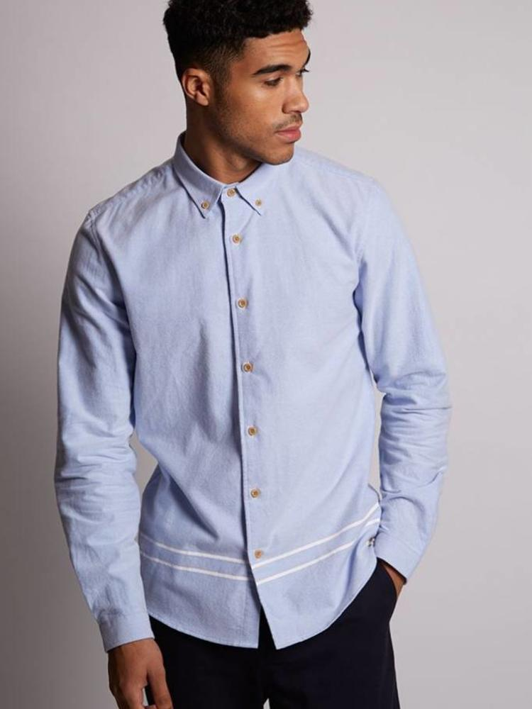 HYMN London HYMN 'CEDAR' Brushed Cotton Blue Oxford Shirt