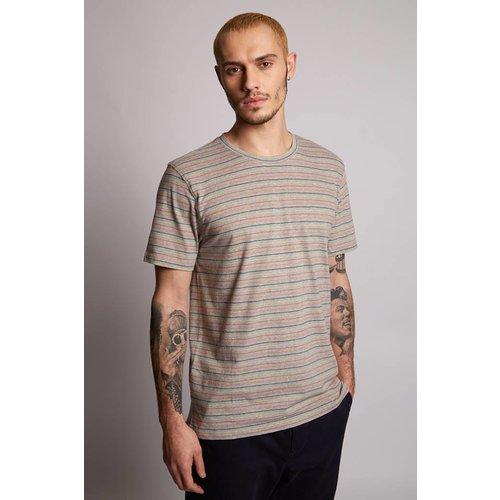 HYMN London 'COLOURING-2' Multi Stripe Grey T-Shirt