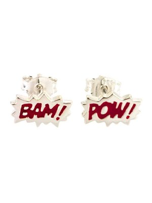 """Laura Gravestock Laura Gravestock Dainty """"BAM"""" & """"POW"""" Studs - Silver and Red"""