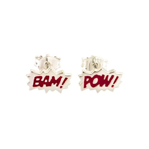 "Laura Gravestock Dainty ""BAM"" & ""POW"" Studs - Silver and Red"