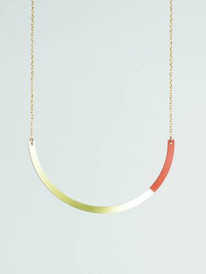 Tom Pigeon Form Necklace Circle Tan Brass