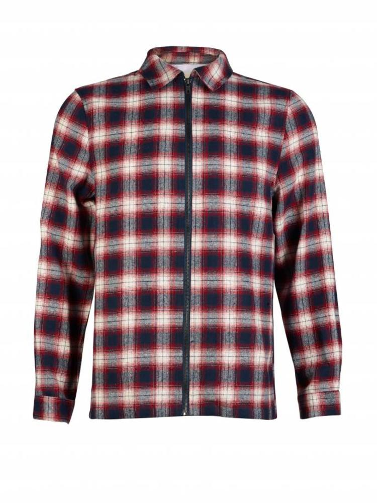 HYMN London HYMN 'TRAIL' Check Red Navy Overshirt