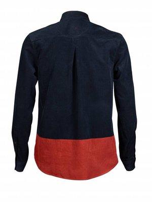HYMN London HYMN 'ASPEN' Cord Colour Block Navy Orange Shirt