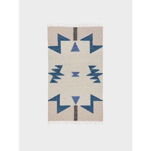 ferm LIVING Kelim Rug - Blue Triangles - Small