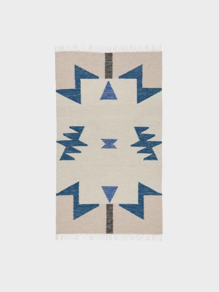 ferm LIVING Ferm Living Kelim Rug - Blue Triangles - Small