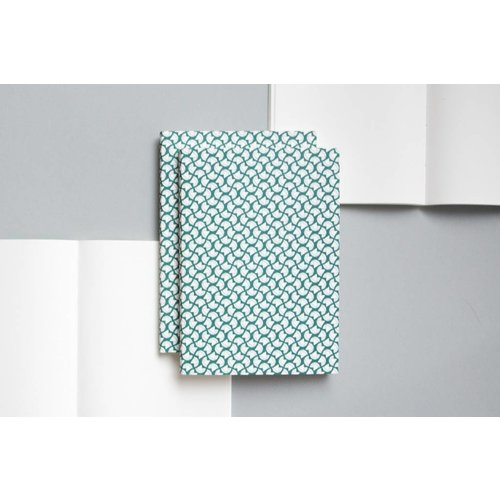 Ola Layflat A5 Notebook, Curve Print in Green/Plain
