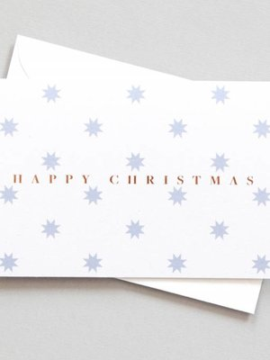 Ola Festive Foil Blocked Cards: Happy Christmas with Stars Print/Rose Gold