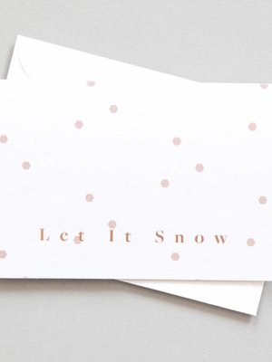 Ola Festive Foil Blocked Cards: Let It Snow Print in Hex Print/Rose Gold