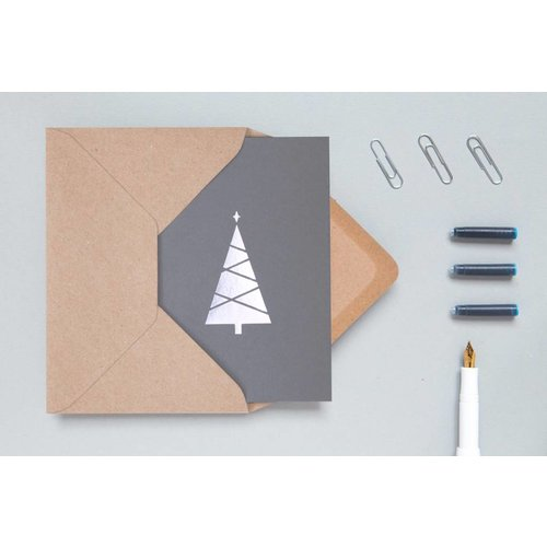 Ola Festive Foil Blocked Cards: Christmas Tree, Grey/Silver