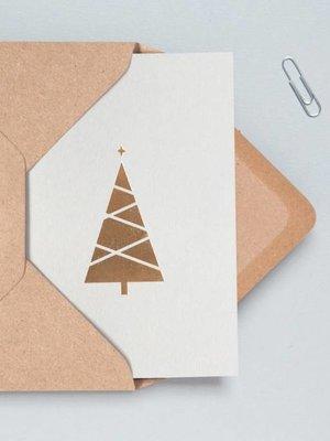 Ola Festive Foil Blocked Cards: Christmas Tree, Light Grey/Brass