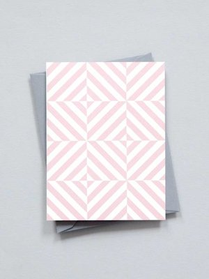 Ola Small Patterned Card: Alma Print in Clay Pink