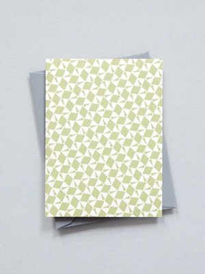 Ola Small Patterned Card: Victor Print in Olive Green