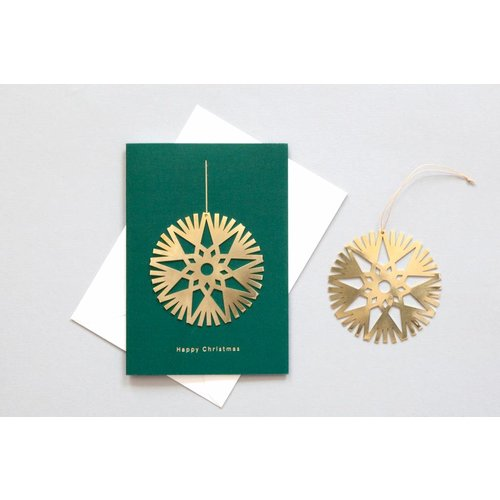 Ola Solid Brass Ornament Card, Decoration on Forest Green