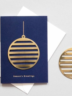 Ola Solid Brass Ornament Card, Bauble on Navy