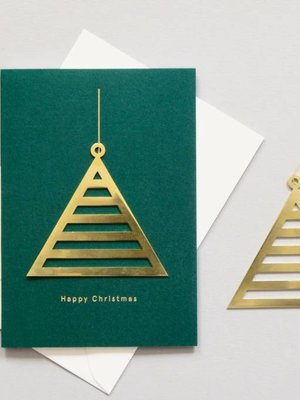Ola Solid Brass Ornament Card, Triangle on Forest Green