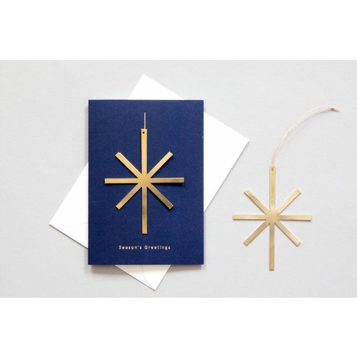 Ola Solid Brass Ornament Card, Star on Navy