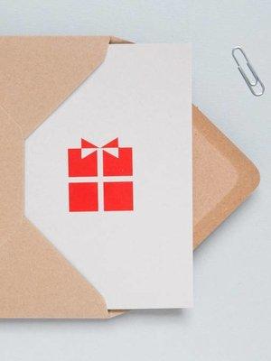 Ola Festive Foil Blocked Cards: Present Print in Light Grey/Red