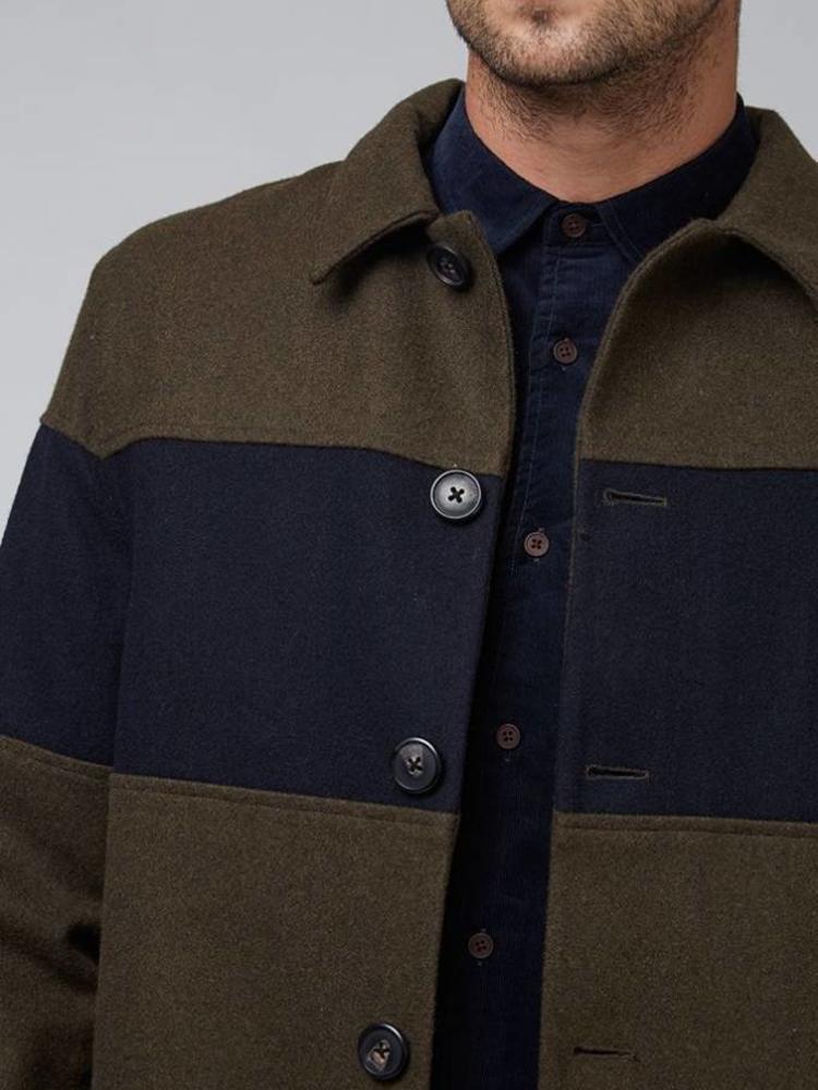 HYMN London HYMN 'WILLOW' Khaki Wool City Coat with Navy Chest Panel