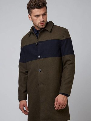 HYMN London 'WILLOW' Khaki Wool City Coat with Navy Chest Panel