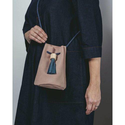 Rosie Drake Knight Bucket Bag - Dusk Pink / Deep Sea Blue Tassel