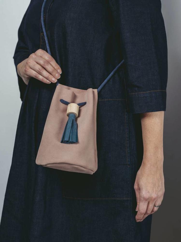 Rosie Drake Knight Rosie Drake Knight Bucket Bag - Dusk Pink / Deep Sea Blue Tassel