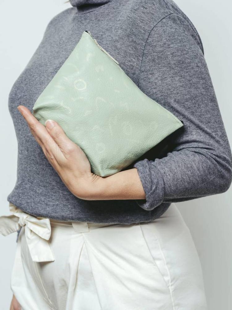 Roake Rosie Drake Knight Zip Pouch - Seagrass Thistle Print